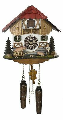 Quartz Cuckoo Clock Black forest house with music TU 4269 QM HZZG NEW