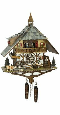 Quartz Cuckoo Clock Black Forest house with moving beer d.. TU 4265 QMT HZZG NEW