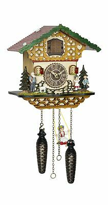 Quartz Cuckoo Clock Black forest house with music and swing  TU 4263 QMS NEW