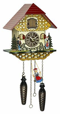 Quartz Cuckoo Clock Black forest house with music and swing  TU 4261 QMS NEW