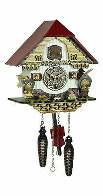 Quartz Cuckoo Clock Black forest house with music TU 4256 QM NEW