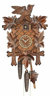 Cuckoo Clock Five leaves with bird, 8 day running time, walnu.. TU 8100/3 nu NEW