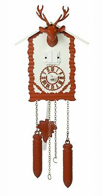 Quartz Cuckoo Clock with music and deer head, red TU 360/20 QM rot NEW
