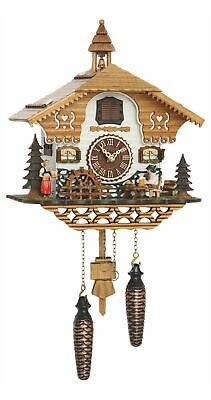 Quartz Cuckoo Clock Black Forest house with moving beer drinker.. TU 4214 QM NEW