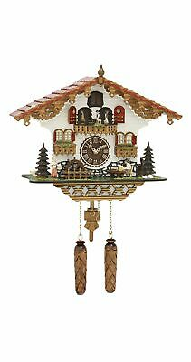 Quartz Cuckoo Clock Black Forest house with moving beer dr.. TU 497 QMT HZZG NEW