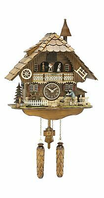 Quartz Cuckoo Clock Black forest house with music, moving .. TU 496 QMT HZZG NEW