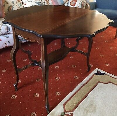 Antique (Victorian?) Inlaid Octagonal Drop-leaf Table