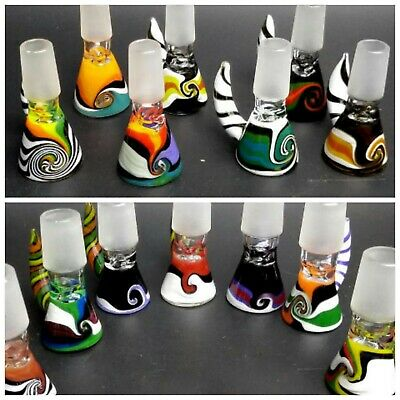 New 14mm Male Glass slide Bowl for Hookah pipe Bong Smoking  bubbler PREMIUM Art