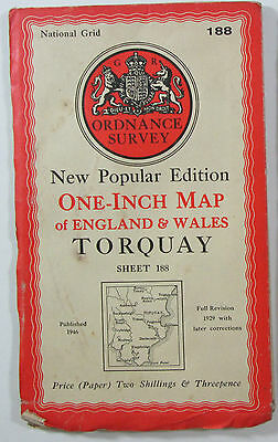 1946 old vintage OS Ordnance Survey New Popular Edition one-inch map 188 Torquay