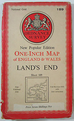 1946 old OS Ordnance Survey New Popular 6th Edition CLOTH map 189 Land's End