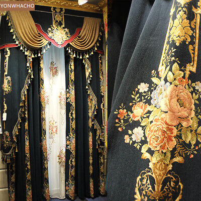 high class European Villa Jacquard chenille thick cloth blackout curtain B531