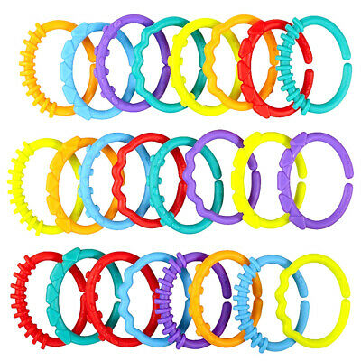 24pcs Colorful Plastic Teething Ring Baby Sensory Teether Bracelet BPA Free Toys