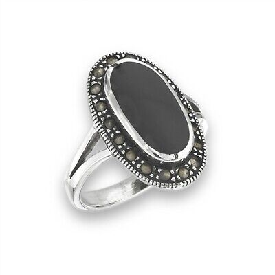Black Onyx (Simulated) Marcasite Statement Ring 925  Sterling Silver Size 7-10