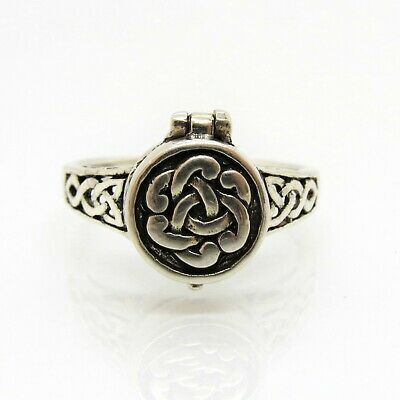 Celtic Knot Poison Ring - 925 Sterling Silver - Pillbox Trinity Pill Box Irish
