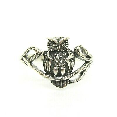 Owl On A Branch Ring 925 Solid Sterling Silver Size 6 7 8 9