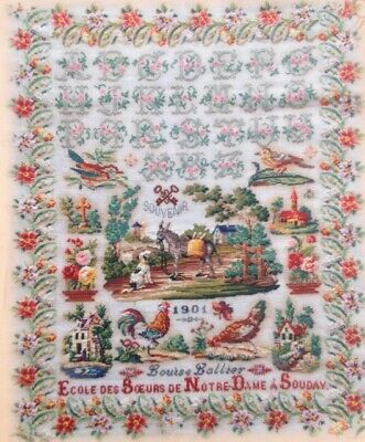 CROSS STITCH CHART Exceptional French Sampler Repro Pattern LOUISE LALLIER 1901