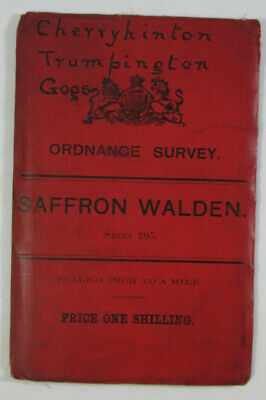 1893 Old OS Ordnance Survey Revised New Series One-Inch Map 205 Saffron Walden