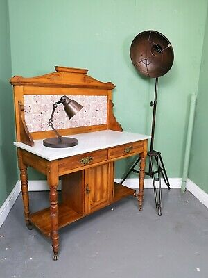 An Antique Victorian Satinwood Marble Tiled Back Washstand ~Delivery Available~