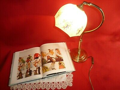 Antique Vintage Brass Desk Lamp Reading Light Hand Painted Glass Shade Bedside