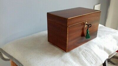 Antique English georgian  mahogany Tea Caddie Working Lock And Key