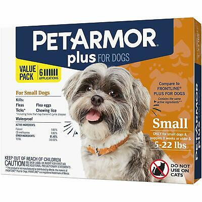 PetArmor Plus Flea and Tick Prevention for Small Dogs 5-22 Pounds 6 pack
