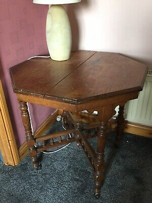 19th C. Games Table Unusual Antique Octagonal On Castors