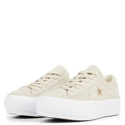 Converse One Star Platform SUEDE Leather Beige Gold White  SIZE UK 3.5 RRP £85