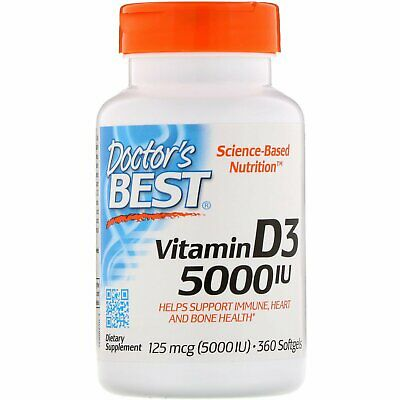 Doctor's Best, Vitamin D3, 125 mcg (5000 IU) x 360 Softgels