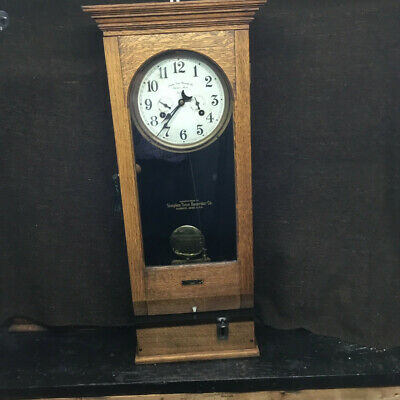 "Antique ""Simplex"" Oak Cased Time Recorder 1912, in excellent mechanical order."