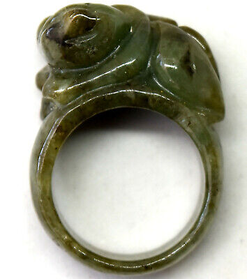 Chinese Untreated/Undyed Hand Carved Jade Ring Size 9