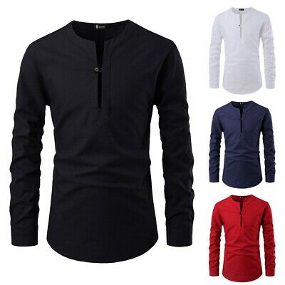 Mens Boys Fashion Solid Color Stand Collar Long Sleeve Shirt Slim Fit Blouse Top