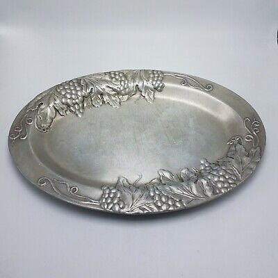 "Wilton Armetale Pewter Oval Tray Platter Grapes Design 15.5"" X 11"""