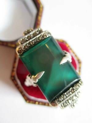 Vintage 1920s large Art Deco ring marcasite Chrysoprase sterling silver