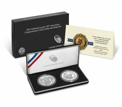 2019 American Legion 100th Anniversary Commemorative Silver Dollar And Medal Set