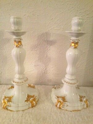 Antique Pair Of Meissen Porcelain Candlesticks Candle Holders White & Gold