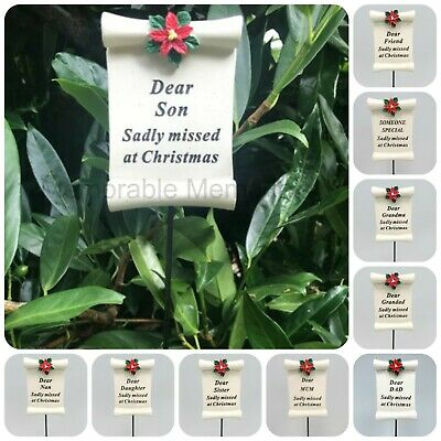 Christmas Scroll Memorial Stick Xmas Remembrance Tribute Spike Grave Side Stake