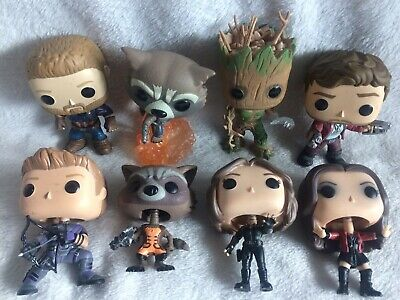 Funko Pop! Marvel Avengers & Guardians Of The Galaxy Loose Lot: Groot, Hawkeye