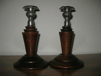Art Deco Oak and Silver Plate Candlesticks - 7  1/2 inches