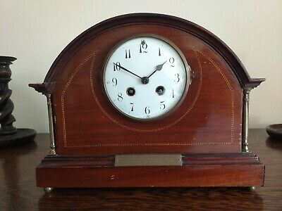 Antique inlaid mahogany wooden cased chiming mantle clock - fully working.