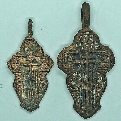 2 Medieval Byzantine Cross Pendants Russian Calvary Orthodox Church Artifact Old