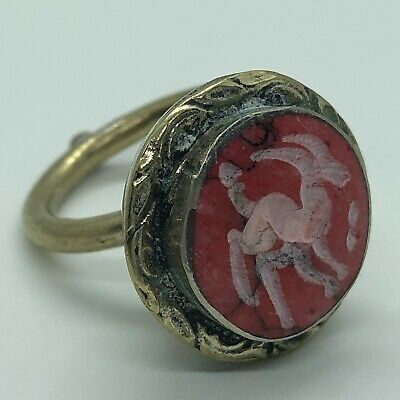 Antique Islamic Red Stone Intaglio Signet Ring Medieval Style Seal Middle East