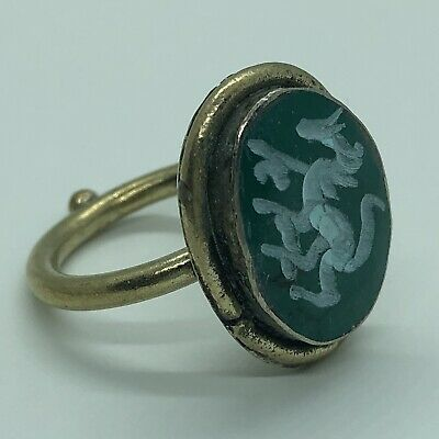Antique Islamic Green Stone Intaglio Signet Ring Medieval Style Seal Middle East