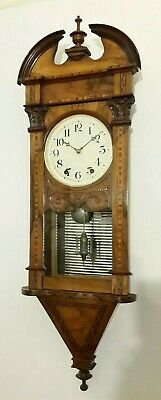 Exceptional Antique Aesthetic Period Late 19c Walnut Parquetry Inlaid Wall Clock