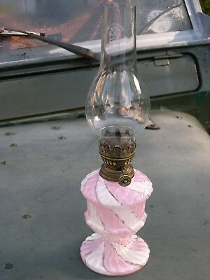 Rose Swirled Candystripe Art Glass Miniature Kerosene Oil Lamp Working Complete