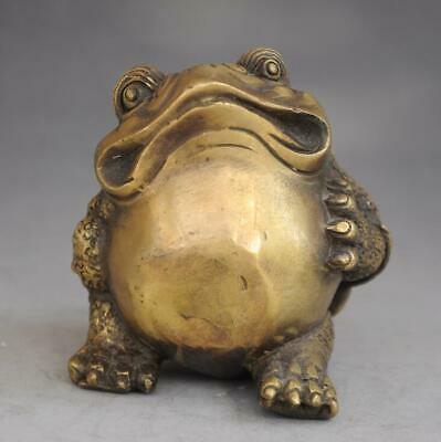 chinese old fengshui pure copper hand engraving  Wealth  toad Statue d01