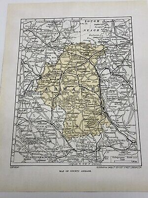 1923 Map of County Armagh Print Roman Catholic Cathedral Interior Old Vintage