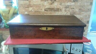 Antique Oak Document Box  Fabulous Condition
