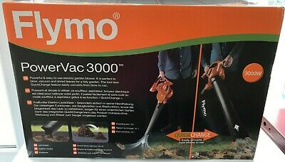 Flymo PowerVac 3000 Electric Garden Blower, Vac, Shred Leaves Powerful 3000W