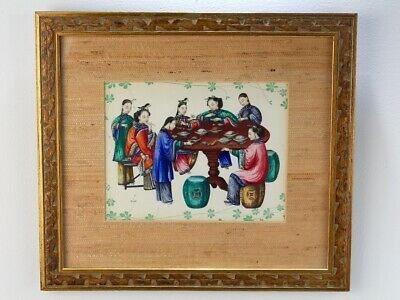 Old or Antique Chinese Watercolor Painting - Women Food Garden Seat Drawing - 2D