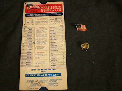Presidents Election Slide Computer + Enamel Flag Pin + Gulf Oil Gas Elephant Pin
